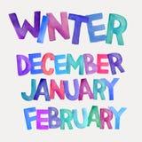 Winter season vector watercolor names Royalty Free Stock Photos