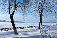 Winter season, Volga river Royalty Free Stock Photos