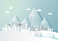 Winter season with white urban and countryside background Stock Images