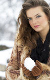 Winter season woman portrait Stock Image