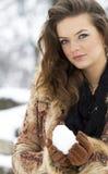 Winter season woman portrait stock image