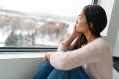 Free Winter Seasonal Affective Disorder SAD Depression Mood Alone Asian Girl Feeling Lonely - Stress, Anxiety, Melancholy Royalty Free Stock Photo - 194675515