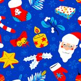 Winter seasonal background. Christmas seamless pattern with brig Stock Photo