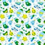 Winter seasonal background. Christmas seamless pattern with brig Royalty Free Stock Image