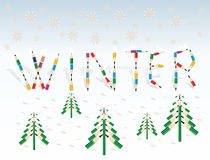 Winter. Seasonal background with colored pencils. Snowflakes, snow, fir tree and the word winter made from colored pencils Stock Photo