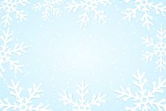 Winter seasonal background. White snowflakes cut out of paper. Merry Christmas and Happy New Year. Template for your design. Vecto. R illustration. EPS 10 royalty free illustration