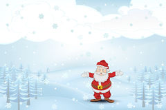 Winter seasonal landscape with trees and Santa Claus at snowfall vector Stock Images