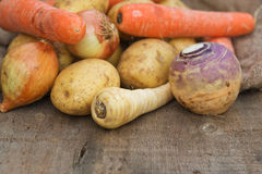 Winter seasonal vegetables collection including potatoes, parsni Royalty Free Stock Photography