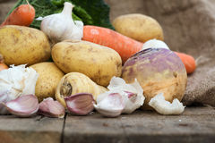 Winter seasonal vegetables collection including potatoes, parsni Stock Photography
