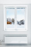 Winter  seen through the window Stock Photos