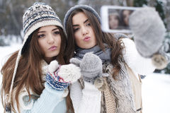 Winter selfie Royalty Free Stock Images