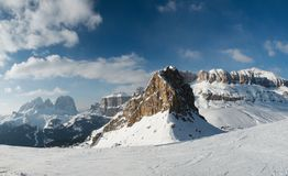 Winter Sella. Winter ski on mountains in Italy stock photo