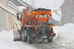 Winter Service. Vehicle in use in heavy snow-fall royalty free stock images