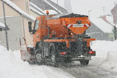 Winter Service. Vehicle in use in heavy snow-fall Royalty Free Stock Photo