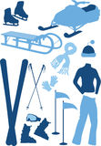 Winter set. Winter sport equipment, winter clothes, vector illustration vector illustration