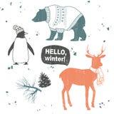 Winter set. Cartoon animals. Hello, winter Stock Photos