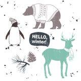 Winter set. Cartoon animals. Hello, winter Stock Image