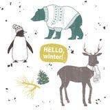Winter set. Cartoon animals. Hello, winter Royalty Free Stock Images