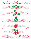 Winter set of decorative calligraphic elements, dividers and new year ornaments for page decor. Vector christmas decorations. vector illustration