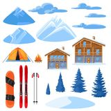 Winter set for design. Alpine chalet houses, snowboard, ski, snowy mountains and fir trees Stock Photo
