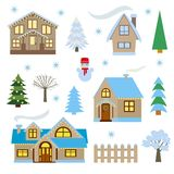 Winter set, houses and trees vector illustration