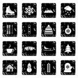 Winter set icons, grunge style Royalty Free Stock Photography