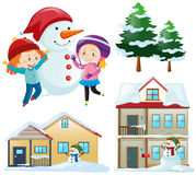 Winter set with kids and houses. Illustration Stock Image