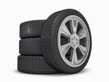 Winter set tires with hard protector. 3D Royalty Free Stock Photo