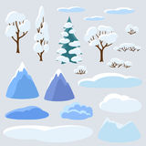 Winter set of trees, mountains and hills. Seasonal collection Royalty Free Stock Image