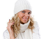 Winter sexy beautiful girl in white hat Stock Photos