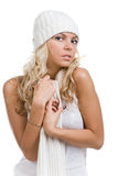 Winter sexy girl with scarf and in white hat Stock Photography