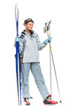 Winter sexy nice girl with sports suit and skis Royalty Free Stock Photo