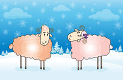 Winter sheep card. Postcard with two lambs on a background of a winter landscape with fir trees and snowflakes Royalty Free Stock Photo