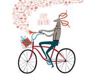 Winter Sheep cyclist illustration. Vector illustration with cuteNew Year's symbol Sheep on city bicycle with gift box in basket Royalty Free Stock Image