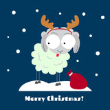 Winter sheep. Winter time flat sheep illustration Royalty Free Stock Photography