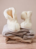 Winter sheepskin slippers (Selective focus) Stock Images