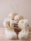 Winter sheepskin slippers (Selective focus) Royalty Free Stock Images