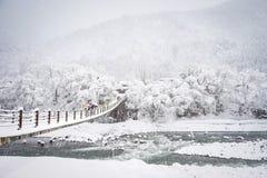 Winter at Shirakawa-go village in Gifu, Japan. Gifu, Japan - Jan 31, 2015. People on the bridge at Shirakawa-go Historic Village in Gifu, Japan. Shirakawago is a Royalty Free Stock Photos