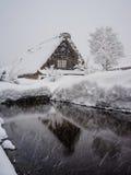 Winter at Shirakawa-go village in Gifu, Japan. Winter scenery at Shirakawa-go village in Gifu, Japan. The Historic Villages of Shirakawa-go and Gokayama are Stock Photo