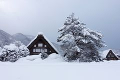 Winter in Shirakawago, Japanese gassho house old village Royalty Free Stock Photo