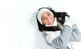 Winter: Shivering Girl On Snowy Background Stock Photo