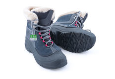 Winter Shoes. Sports warm winter boots with fur Stock Photo