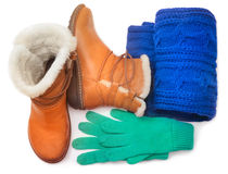 Winter shoes and accessories Stock Images