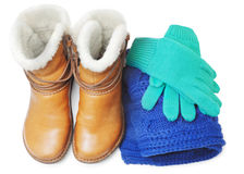 Winter shoes and accessories Royalty Free Stock Photo