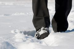 Winter shoes in snow. Winter shoes with black pants in snow Royalty Free Stock Image