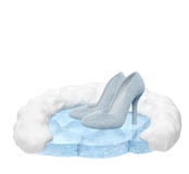 Winter shoes. Winter collection shoes on nature podium (sale, fashion, advertising, shopping creative concept). Woman high heels with fur stand on ice pedestal Stock Images