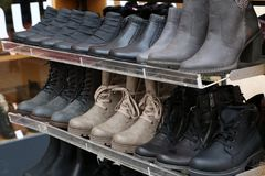 Winter shoes for sale. Seasonal discount on shoes.  stock photography