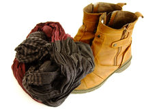 Winter Shoes and Scarf. A Pair of Men`s Winter Shoes and a Scarf in white Background Royalty Free Stock Photo
