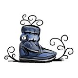 Winter shoes, sketch for your design Stock Photos
