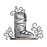 Winter shoes, sketch for your design Stock Images